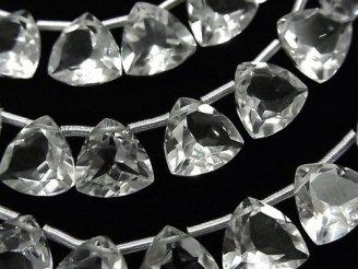 天然石卸 宝石質クリスタルAAA トライアングルファセットカット10×10×5mm 半連/1連(18粒)