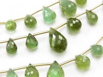 天然石卸 1連12,800円!宝石質グリーントルマリンAAA ドロップ ブリオレットカット 1連(約16cm)