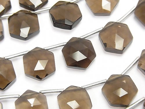 宝石質スモーキークォーツAAA ヘキサゴン ローズカット11×10mm 1連(8粒)
