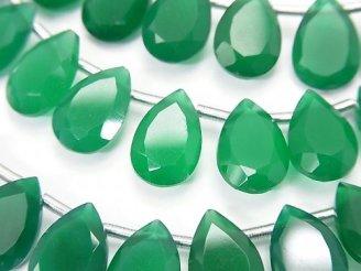 天然石卸 宝石質グリーンオニキスAAA ペアシェイプ ファセットカット12×8mm 半連/1連(18粒)