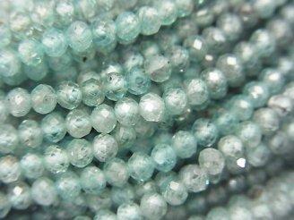天然石卸 素晴らしい輝き!宝石質天然ブルージルコンAA++ セミラウンドカット2〜4mm 半連/1連(約32cm)