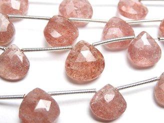 天然石卸 1連1,280円!宝石質ピンクエピドートAA++ マロン ブリオレットカット 1連(約15cm)