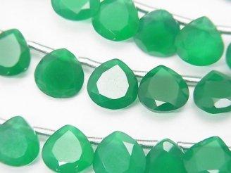 天然石卸 1連1,580円!宝石質グリーンオニキスAAA マロン ファセットカット8×8mm 1連(18粒)