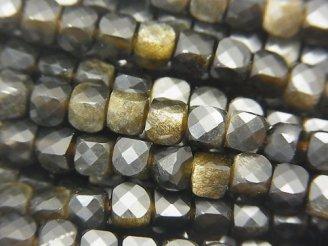 天然石卸 素晴らしい輝き!1連1,280円!ゴールデンシャインオブシディアン キューブカット4×4×4mm 1連(約37cm)