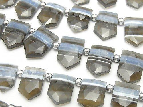 ストライプブルーオパールAA++ 変形ペンタゴン ブリオレットカット クレオ穴 1連(約18cm)