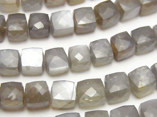 宝石質グレームーンストーンAA++ キューブカット 半連/1連(約18cm)