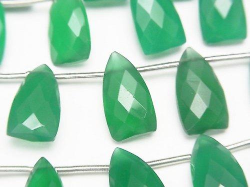 宝石質グリーンオニキスAAA 変形ペアシェイプカット15×8mm 1連(8粒)