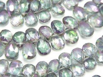 宝石質ミスティックトパーズAAA ペアシェイプ ブリオレットカット グレー系 半連/1連(約18cm)