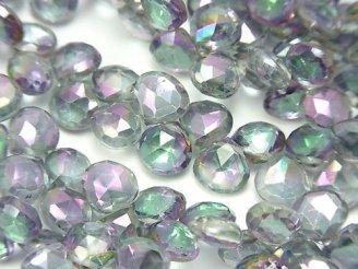 宝石質ミスティックトパーズAAA マロン ブリオレットカット グレー系 半連/1連(約18cm)