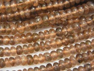 1連1,680円!宝石質アンダルサイトAAA ロンデル(ボタン)3〜3.5mm 1連(約32cm)