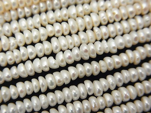 1連780円!淡水真珠AA+ ロンデル3×2.5×1.5mm ホワイト 1連(約37cm)