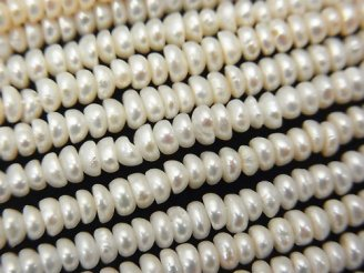 天然石卸 1連780円!淡水真珠AA+ ロンデル3×2.5×1.5mm ホワイト 1連(約37cm)
