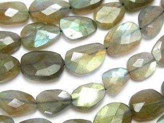 天然石卸 ラブラドライトAA++ フラットタンブルカット 半連/1連(約32cm)