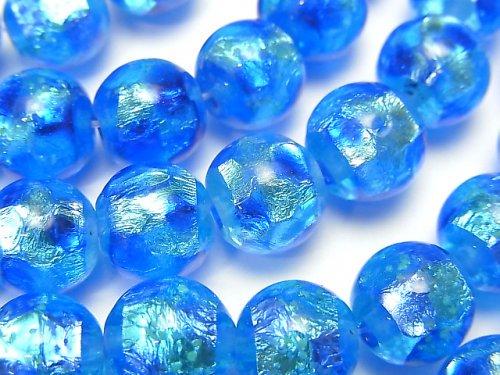 【動画】とんぼ玉 ラウンド10mm 【ブルー×ライトブルー/蓄光タイプ】 1/4連〜1連(約34cm)