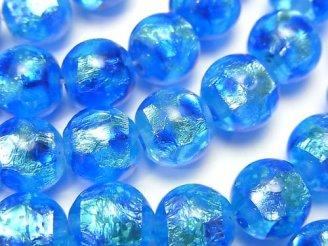 とんぼ玉 ラウンド10mm 【ブルー×ライトブルー/蓄光タイプ】 1/4連〜1連(約35cm)