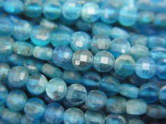 天然石卸 素晴らしい輝き!1連780円!ブルーアパタイトAA コインカット4×4×2mm 1連(約37cm)