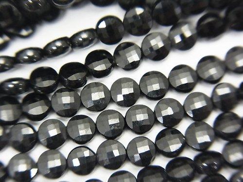 【素晴らしい輝き】ブラックスピネルAAA コインカット4×4×2mm 1連(約37cm)