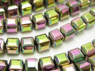 天然石卸 1連380円!ヘマタイト キューブカット6×6×6mm メタリックコーティング 1連(約37cm)