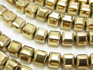天然石卸 1連380円!ヘマタイト キューブカット6×6×6mm ゴールドコーティング 1連(約37cm)
