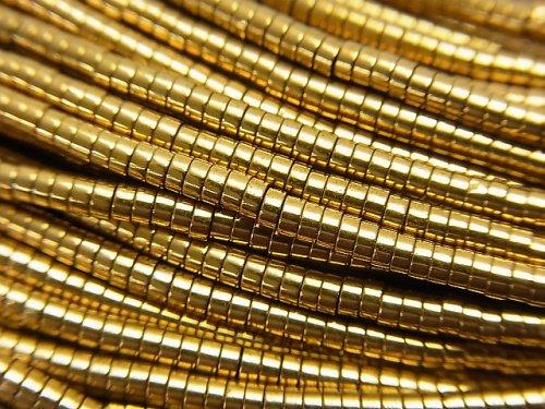 ヘマタイト チューブ(ヘイシ)2×2×1mm ゴールドコーティング 1連(約38cm)
