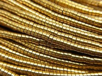 天然石卸 1連280円!ヘマタイト チューブ(ヘイシ)2×2×1mm ゴールドコーティング 1連(約38cm)