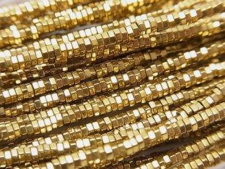 天然石卸 1連280円!ヘマタイト 六角形ロンデル(ヘイシ)2×2×1mm ゴールドコーティング 1連(約38cm)