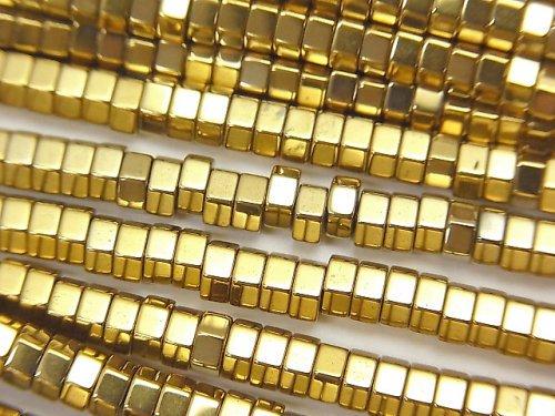 1連380円!ヘマタイト 六角形ロンデル(チューブ)4×4×2mm ゴールドコーティング 1連(約38cm)