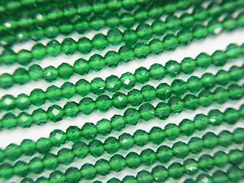 【素晴らしい輝き】ガラスビーズ 極小ラウンドカット2mm グリーン 1連(約36cm)