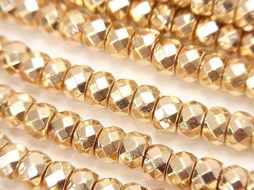 ヘマタイト ボタンカット6×6×4mm  ゴールドコーティング 1連(約38cm)