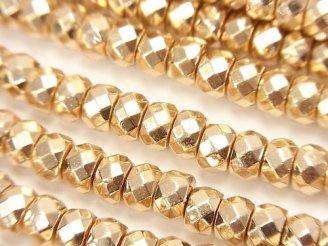 天然石卸 1連680円!ヘマタイト ボタンカット6×6×4mm  ゴールドコーティング 1連(約38cm)