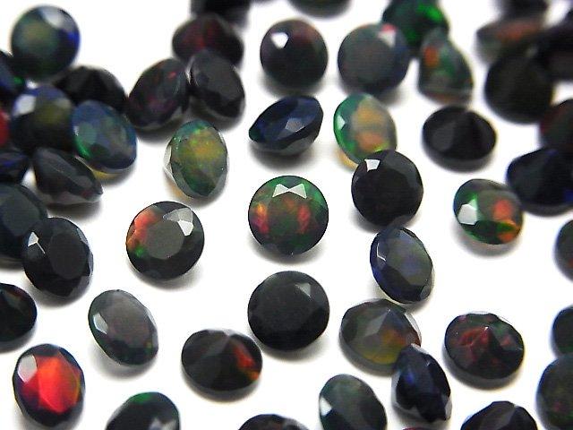 宝石質ブラックオパールAAA 穴なしラウンドファセットカット5×5mm 5粒1,380円!