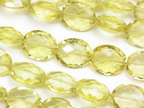 宝石質レモンクォーツAAA オーバルカット11×9×4mm 半連/1連(約17cm)