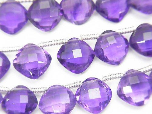 宝石質アメジストAAA ダイヤカット(クッションカット)9×9×4mm 半連/1連(18粒)