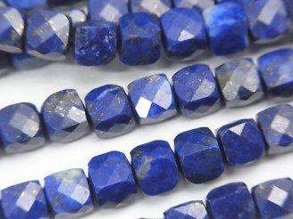 天然石卸 素晴らしい輝き!ラピスラズリAA キューブカット5×5×5mm 半連/1連(約37cm)