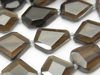 天然石卸 宝石質スモーキークォーツAAA タンブルカット 半連/1連(約32cm)