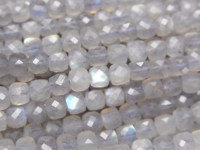 【素晴らしい輝き】宝石質ラブラドライトAA++ キューブカット4×4×4mm 半連/1連(約37cm)