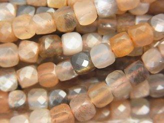 天然石卸 素晴らしい輝き!シルバーシャイン ブラウン&グレームーンストーンAA++ キューブカット5×5×5mm 半連/1連(約37cm)