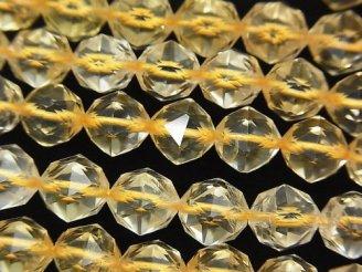 天然石卸 素晴らしい輝き!ライトカラーシトリンAAA- スターラウンドカット8mm 半連/1連(約37cm)