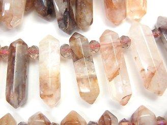 天然石卸 レッドヘマタイトクォーツ 大粒ダブルポイント20〜44mm 半連/1連(約36cm)
