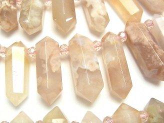 天然石卸 マダガスカル産チェリーブロッサムアゲート ダブルポイント クレオ穴 半連/1連(約34cm)