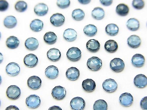宝石質ロンドンブルートパーズAAA ラウンド ローズカット3×3mm 10粒