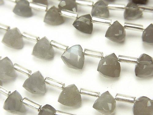 宝石質グレームーンストーンAAA- 立体トライアングルカット6×6×6mm 1連(18粒)