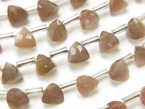 宝石質ブラウンムーンストーンAAA- 立体トライアングルカット6×6×6mm 1連(18粒)
