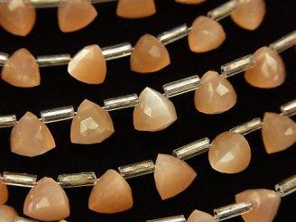 天然石卸 1連1,380円!宝石質オレンジムーンストーンAA++ 立体トライアングルカット6×6×6mm 1連(18粒)