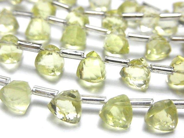 【動画】宝石質レモンクォーツAAA- 立体トライアングルカット6×6×6mm 1連(18粒)