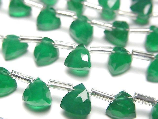 宝石質グリーンオニキスAAA 立体トライアングルカット6×6×6mm 1連(18粒)