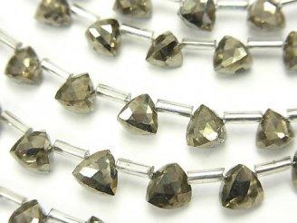 天然石卸 1連1,980円!宝石質パイライトAAA 立体トライアングルカット6×6×6mm 1連(18粒)