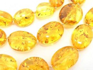 天然石卸 1点もの!高品質バルティックアンバー(琥珀)AAA タンブル ネックレス 1連(約67cm) NO.81