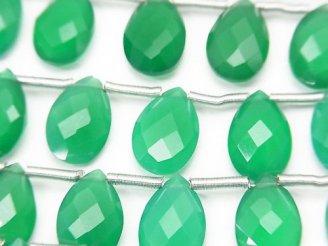 天然石卸 宝石質グリーンオニキスAAA ペアシェイプ ブリオレットカット12×8mm 半連/1連(13粒)