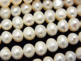 天然石卸 1連480円!淡水真珠AA ポテト6mm ホワイト 1連(約38cm)